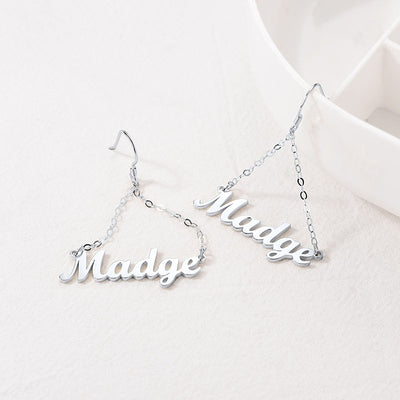 925 Sterling Silver Personalized Triangle Name Dangle Earrings For Her