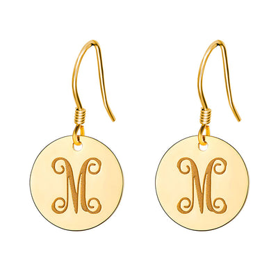 925 Sterling Silver Round Monogram Earrings Name Engraving Jewelry