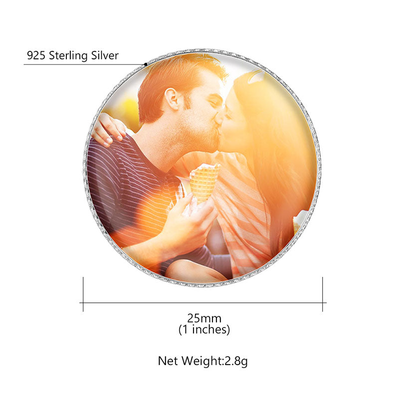 925 Sterling Silver Personalized Photo Brooch Memorial Jewellery