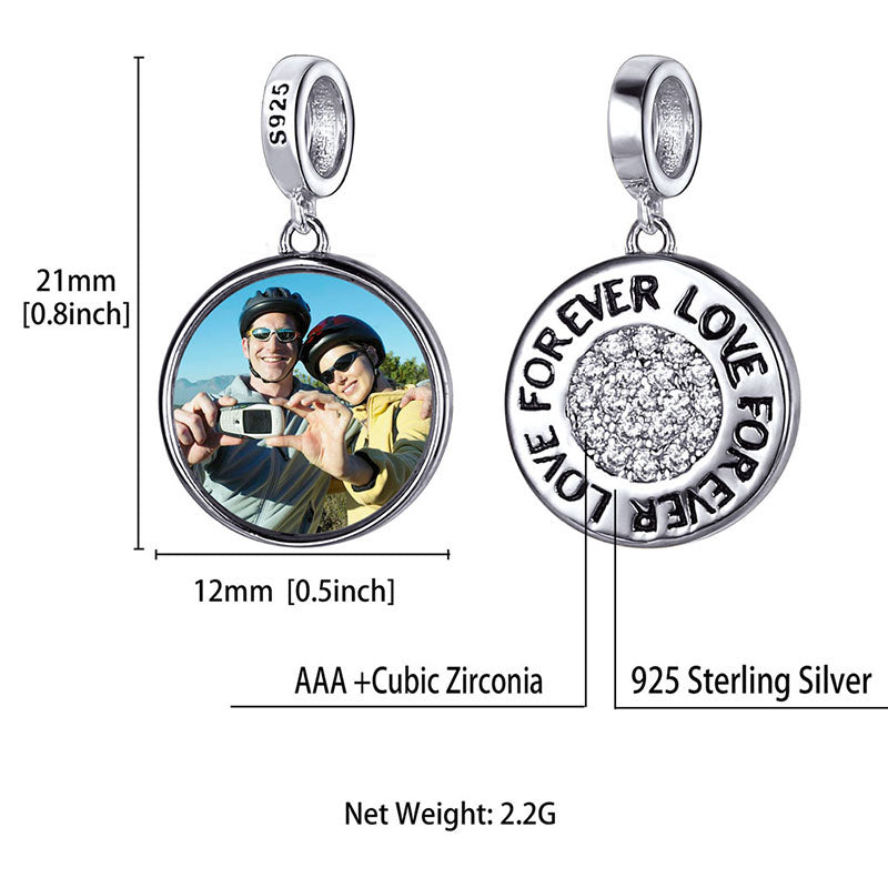 CZ Silver Forever Love Photo Charm