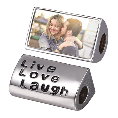 Square Silver Photo Charm Live Love Laugh Engraving Charm For Bracelet