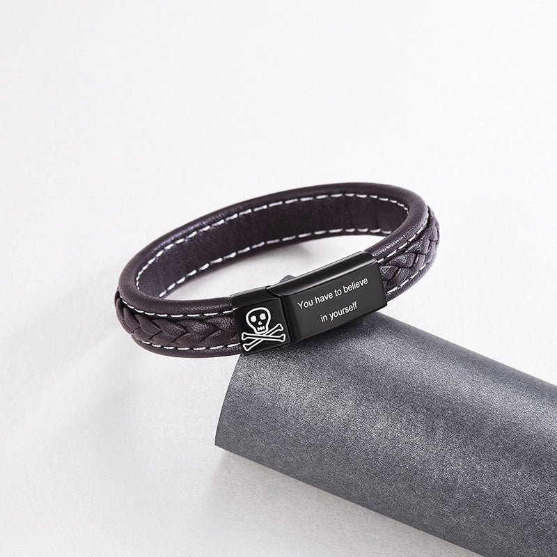 Genuine Leather Custom Symbol Engraving Bracelet Personalized Gifts