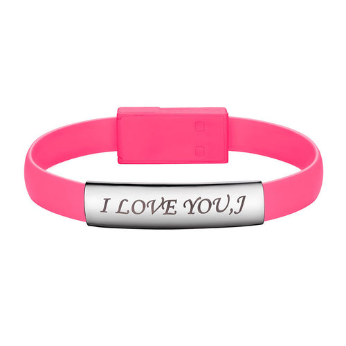 Personalized Pink USB Charging Cable Bracelet iPhone Micro USB Charger