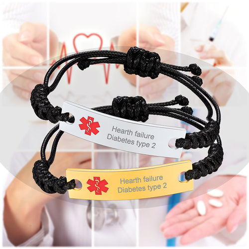 Stainless Steel Wax Rope Medical ID Bracelet Engraving Jewelry For Men