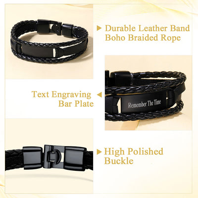 Men's 316L Stainless Steel Leather Bracelet Personalized Gifts For Him