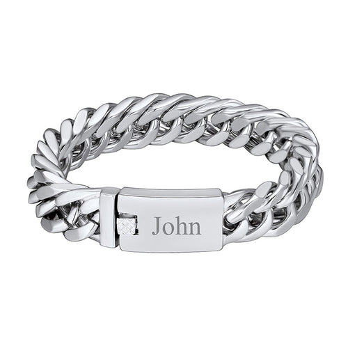 316L Stainless Steel Thick 16MM Engraving Cuban Chain Bracelet For Men