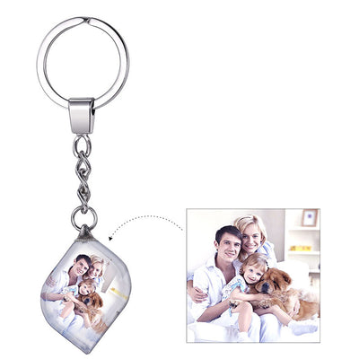 Personalized Photo Engraved Crystal Diamond Key Chain Stainless Steel