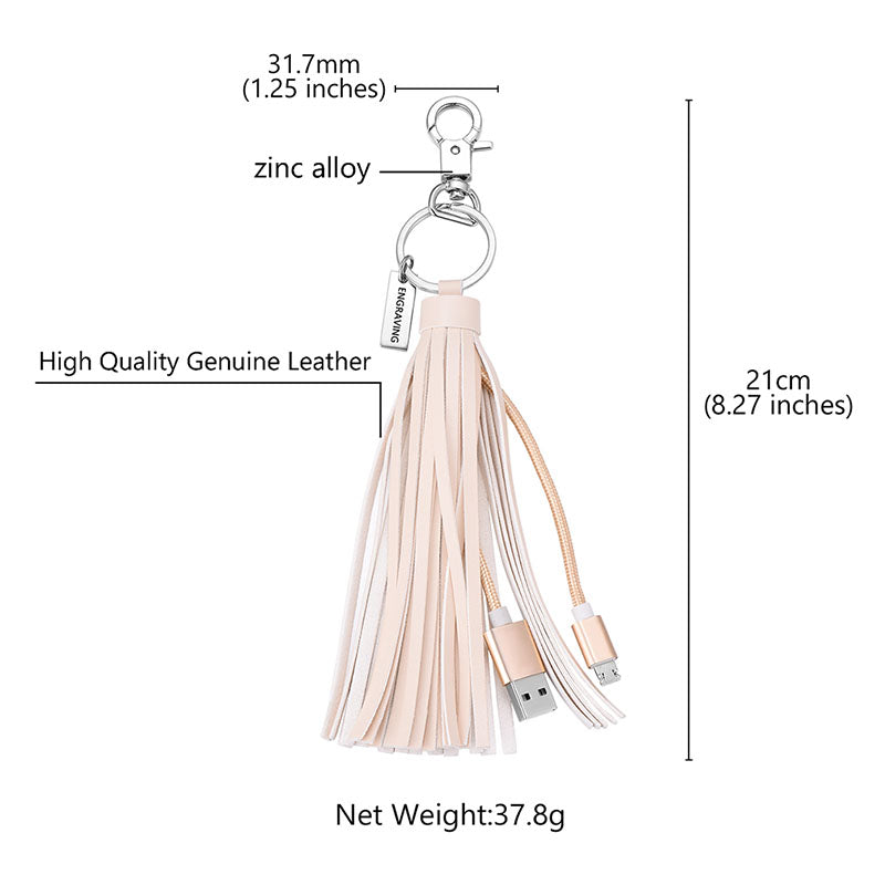 Lighting USB Cable Tassel Key Chain Compatible With iPhone/iPod/iPad