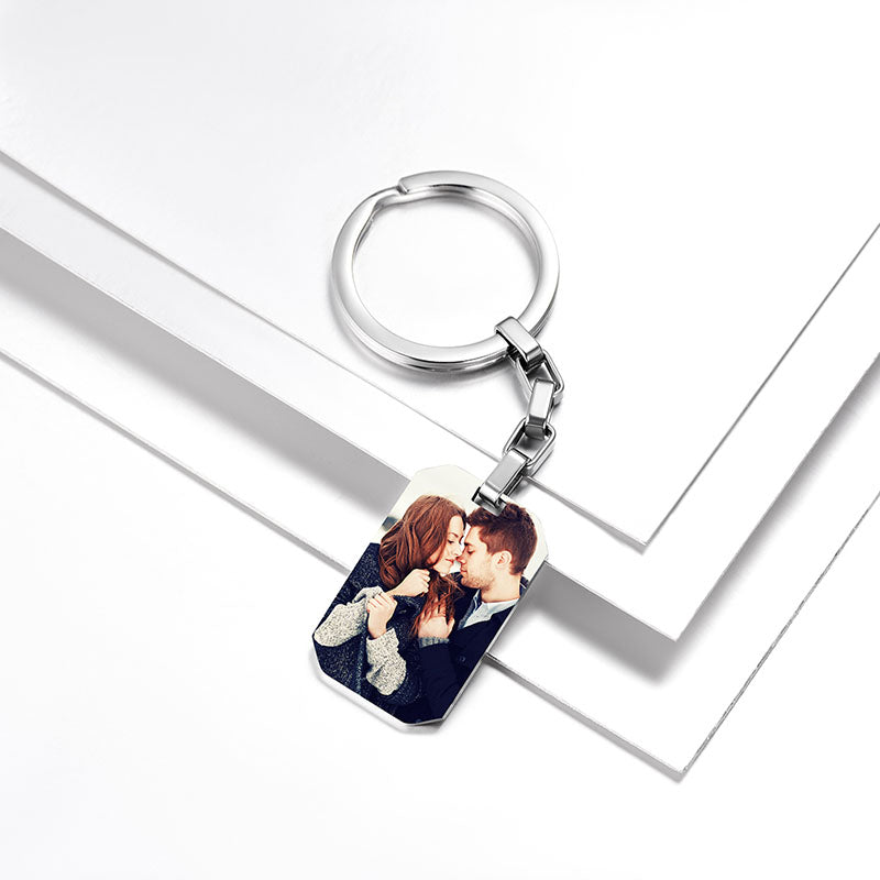 Stainless Steel Photo Printed Key Chain