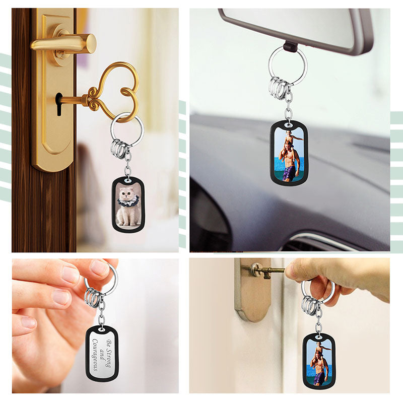 316L Stainless Steel Engraving Personalized Photo Army Key Chain
