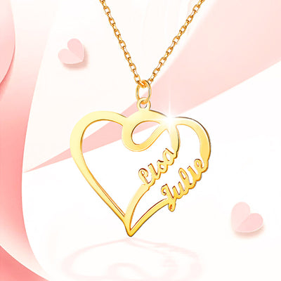Double Heart Love Necklace With Two Names For Women, Silver/ Copper