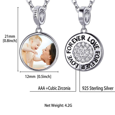 CZ Silver Forever Love Engraving Photo Necklace