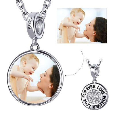 Cubic Zirconia Silver Forever Love Personalized Photo Charm Necklace