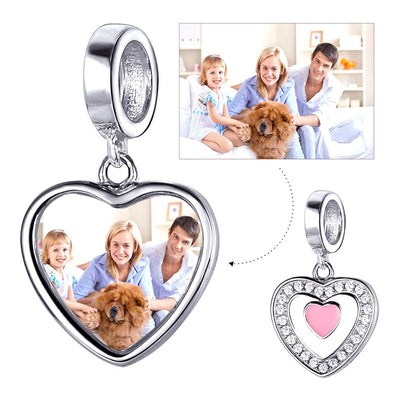 CZ Sliver Heart Charm Personlized Engraved Photo Charm For Bracelet