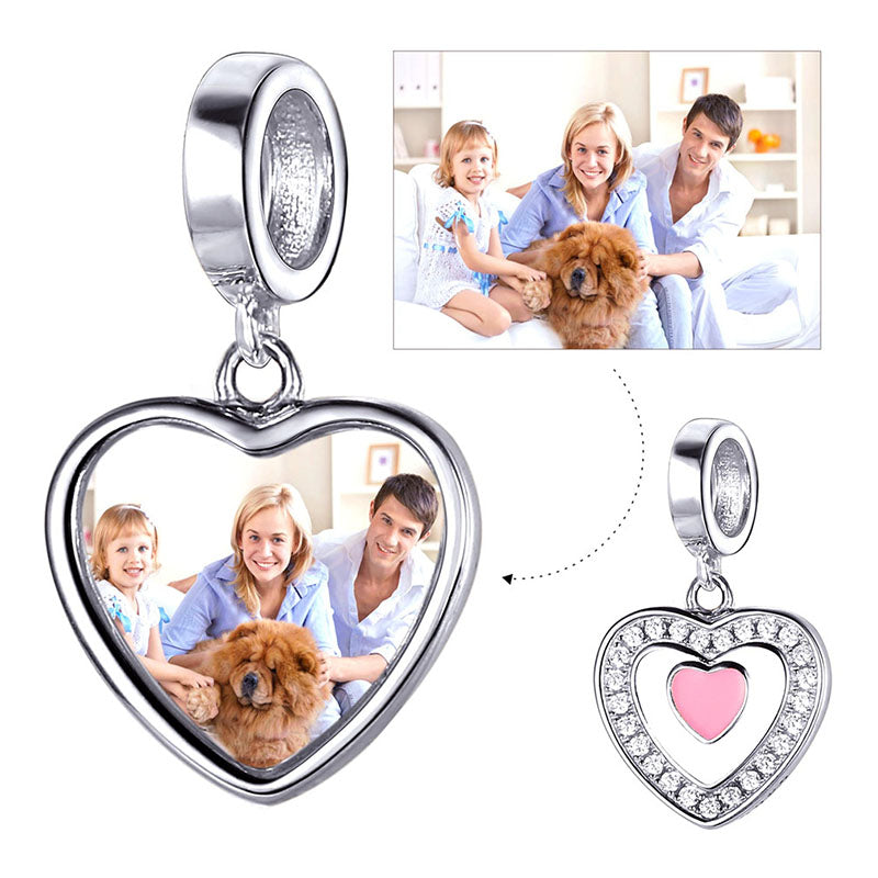 CZ Silver Heart Charm Personalized Engraved Photo Charm For Bracelet
