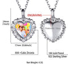 CZ Heart Charm Sterling Silver Printing Photo Engraved Words Necklace
