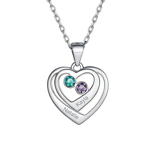 Sterling Silver Double Thickness Heart Name Necklace With Birthstones