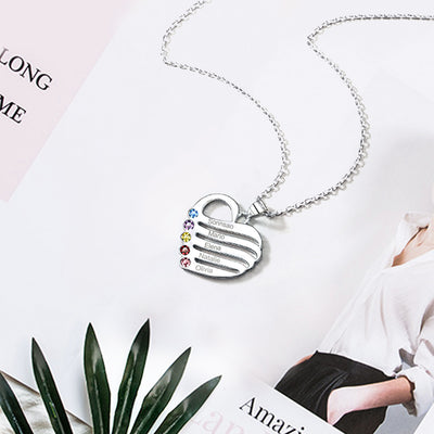 925 Sterling Silver Personalized Heart Family Name Birthstone Necklace