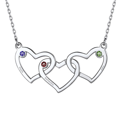 Birthstone Three Intertwined Heart Engraving Name Necklace For Mother
