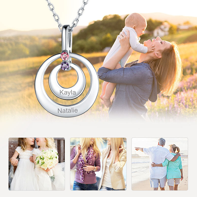 Two Disc Engraving Name Necklace With Birthstone Gifts For Mother