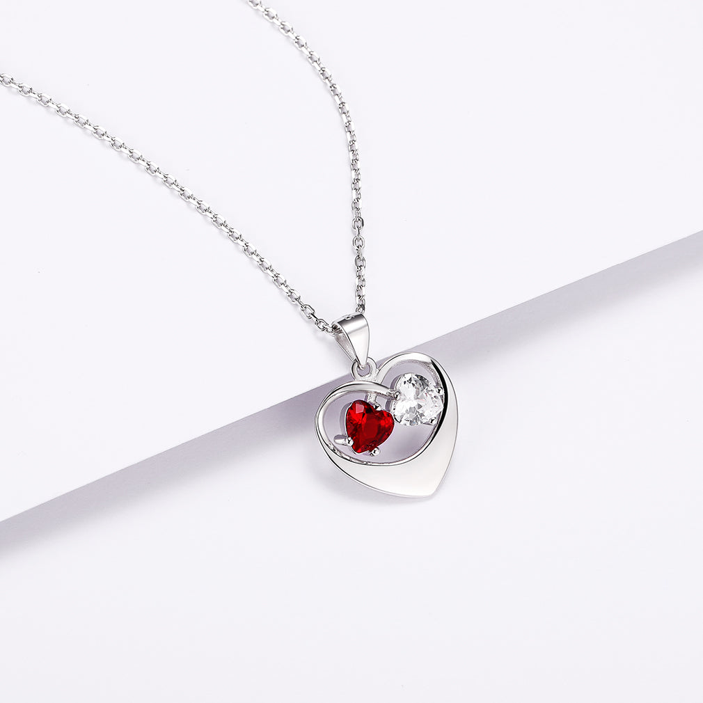 Silver Two birthstone Heart Name Necklace Personalized Gift For Her