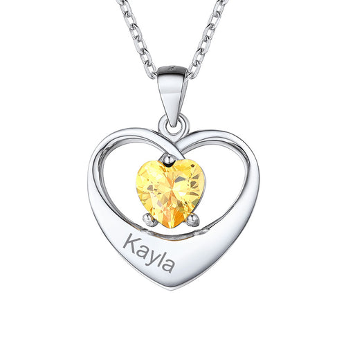 Personalized Name Lucky Birthstone Heart Necklace For Women Gifts