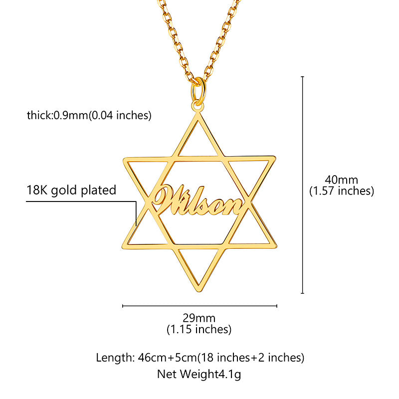 925 Sterling Silver Personalized Star Of David Name Necklace