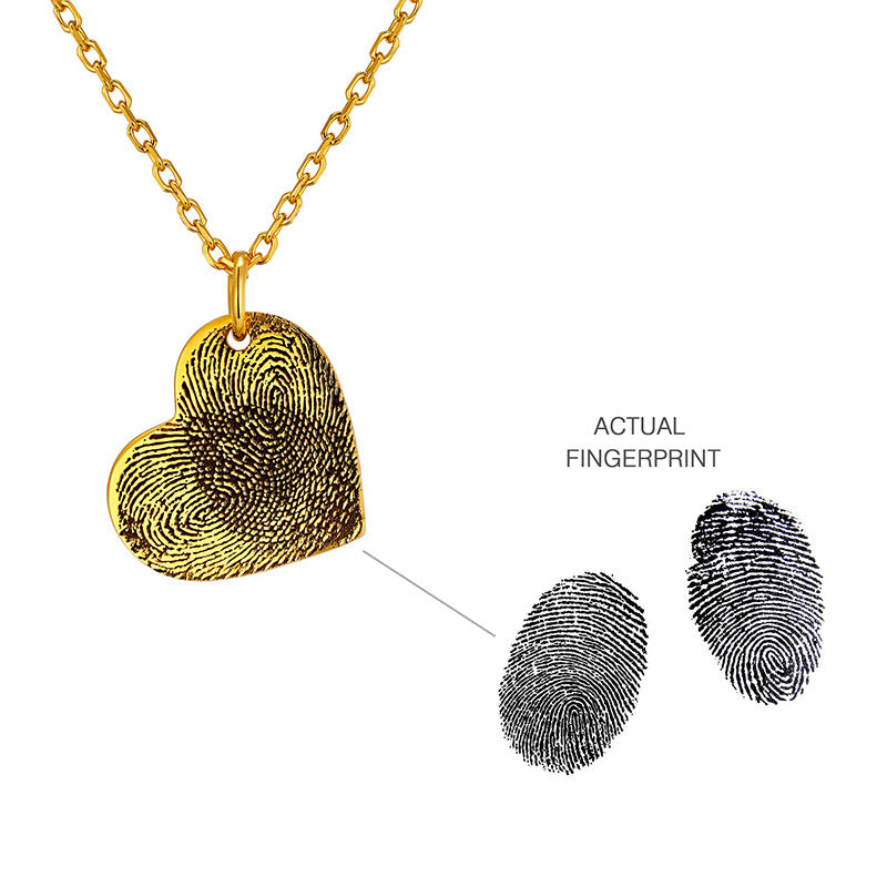 Actual Fingerprint Photo Memorial Necklace