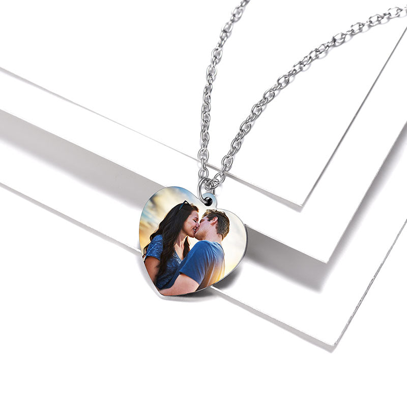 316L Stainless Steel Heart Engraving Photo Necklace Personalized Gifts