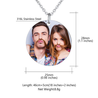 316L Stainless Steel Round Engraving Photo Necklace Personalized Gifts