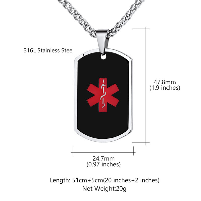 Personalized 316L Stainless Steel Medical ID Engraved Dog Tag For Him