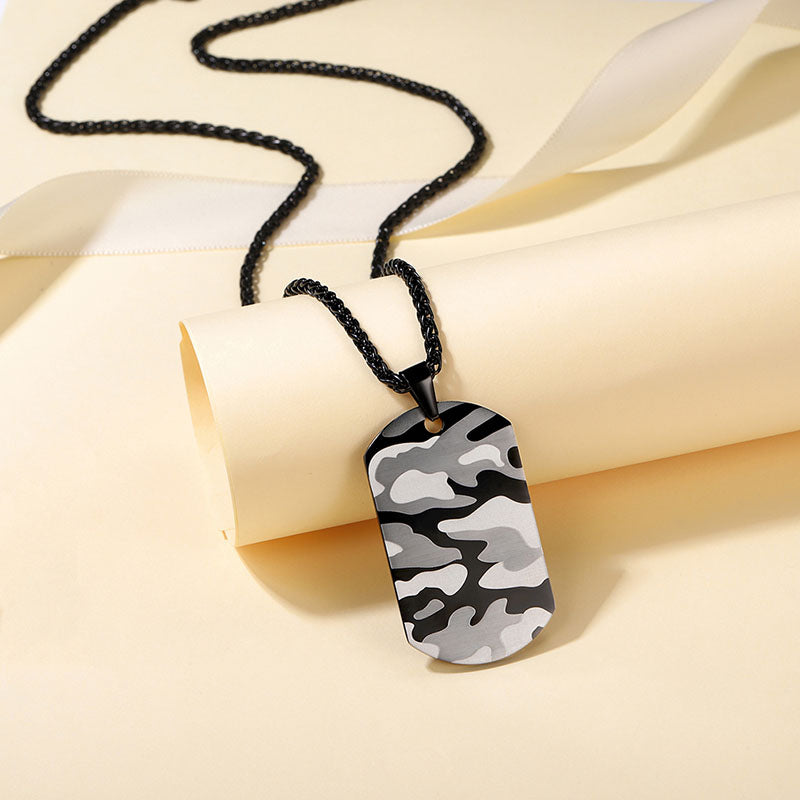 316L Stainless Steel Military Engraving Camouflage Army Tag Necklace
