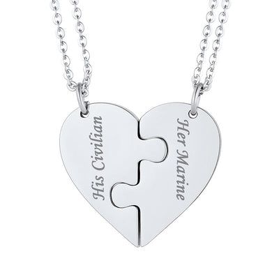 Two Personalized Puzzle Engraving Necklace Heart BFF Couple Jewelry