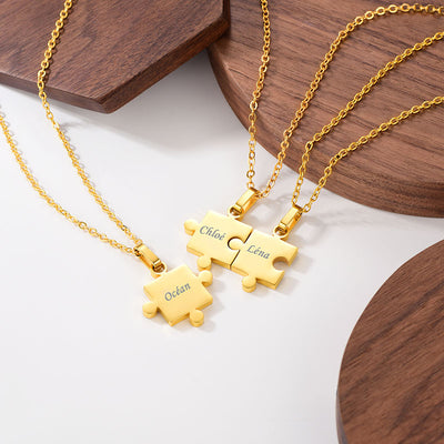 Three Jigsaw Piece Necklaces