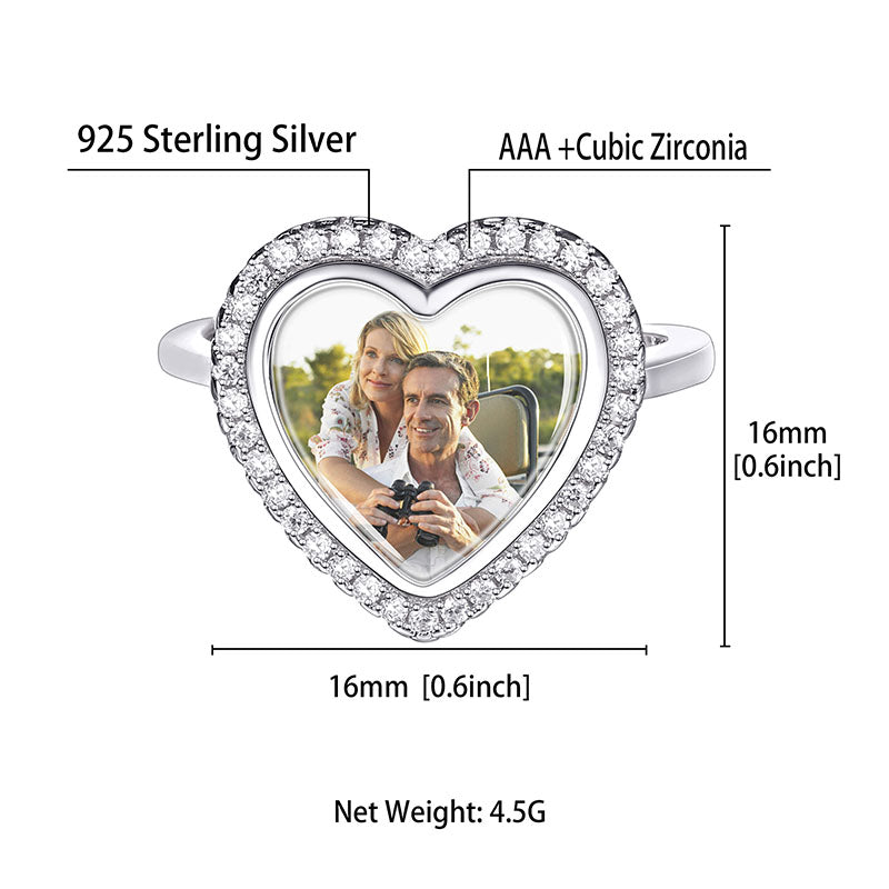 Sterling Silver Cubic Zirconia Adjustable Heart Photo Engraved Ring
