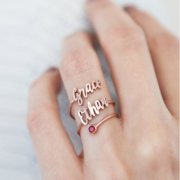 Personalized Two Name Spiral Ring with Birthstone Unique Gifts for Her