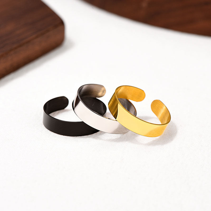 Personalized Engraving Band Ring, 5MM / 10MM / 17MM Unisex Smooth Surface Punk Ring, Couple Jewelry With Gift Box