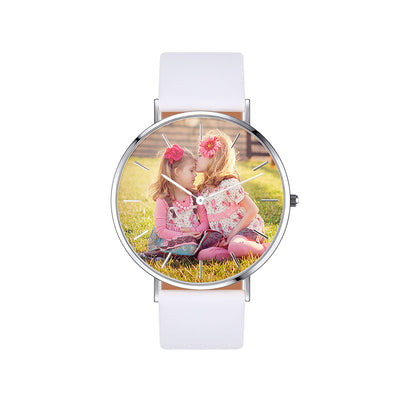 Unisex Engraved Rose Gold Photo Watch White Leather Strap 36mm & 40mm