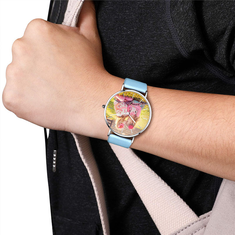 Unisex Blue Leather Photo Watch Strap 36mm / 40mm Valentines Gifts