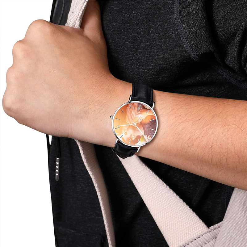 Unisex Black Genuine Leather Personalized Photo Watch Couple Watch