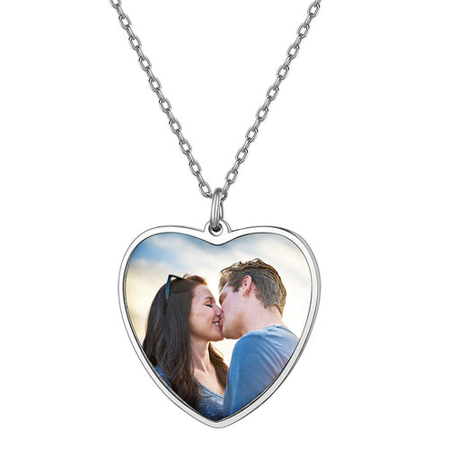 925 Sterling Silver Heart Custom Photo Necklace For Women, Mothers' Day Gifts