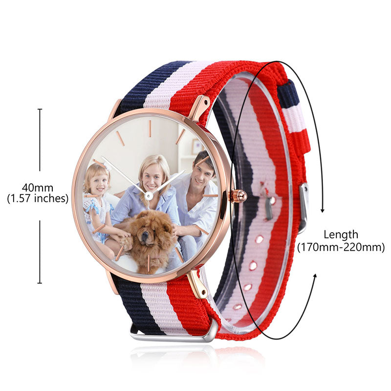 Red And Blue Nylon Personalized Engraved Photo Watch For Women & Men