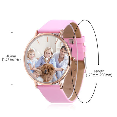 Pink Leather Rose Gold/Silver Photo Watch Personalized Gifts For Her