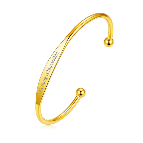 Custom4u Stainless Steel Engraving Open Bangle Bracelet For Women