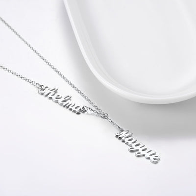 Lariat Names Necklace Personalized Dangling Double Name Jewelry Gift