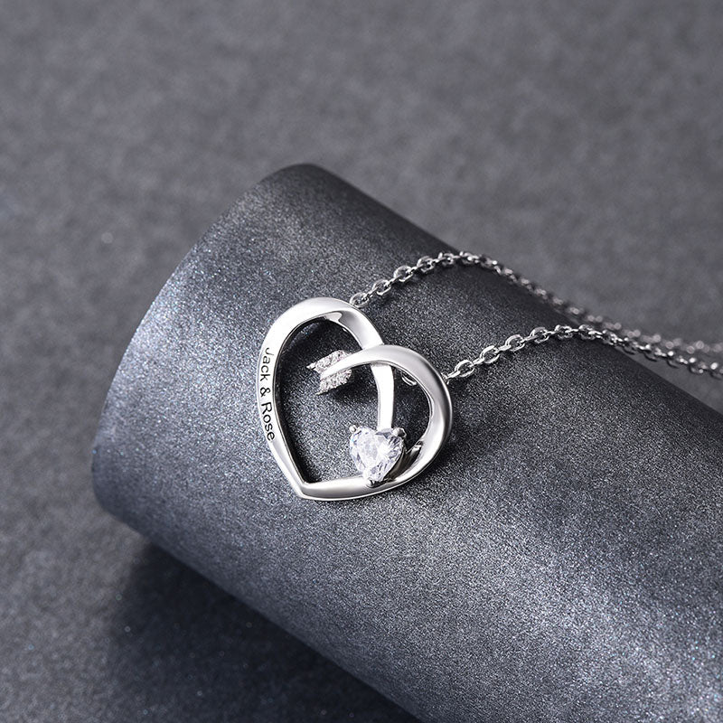Silver Birthstone Heart Engraving Necklace Personalized Gift For Her