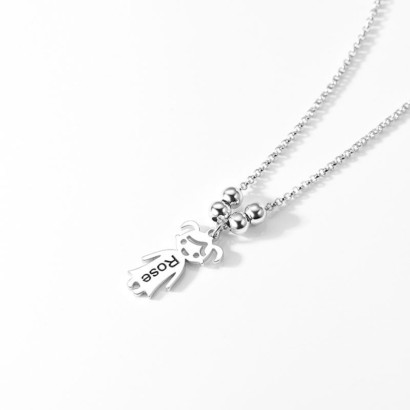 925 Sterling Silver Custom Girl Name Charm Necklace Gifts For Mother