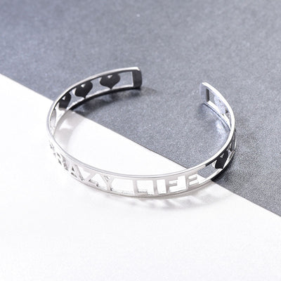 925 Sterling Silver Hollow Out Personalized Name Bracelets Bangles