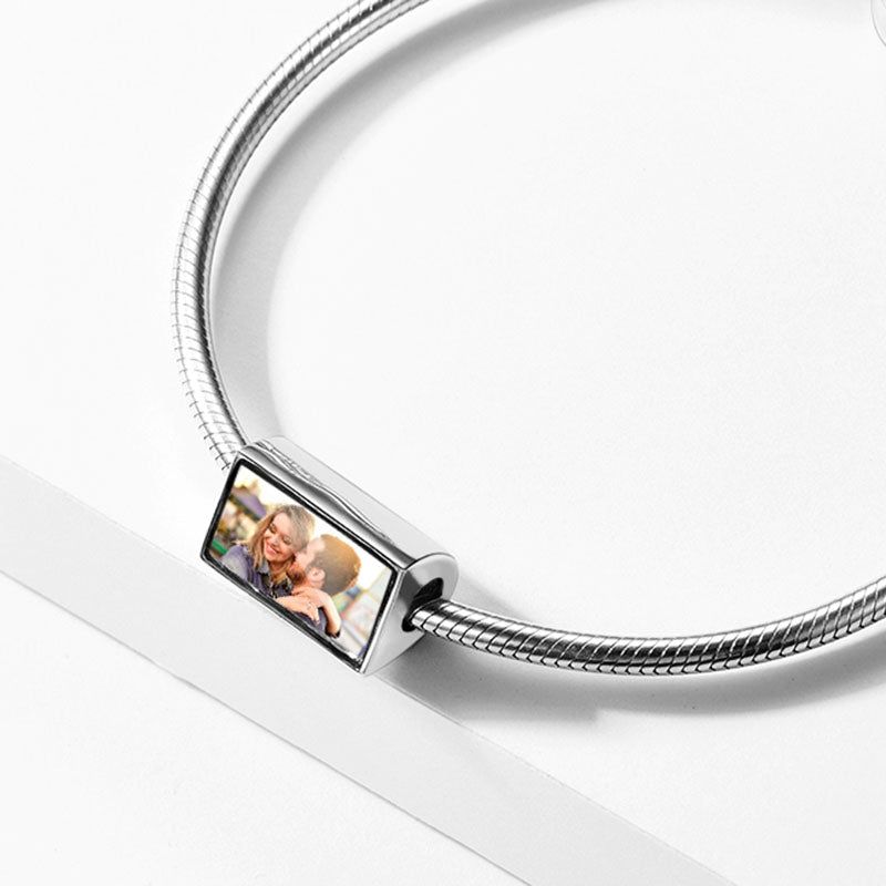 Live Love Laugh Silver Photo Charm For Bracelet, Custom Engraving Inspirational Jewelry For Her