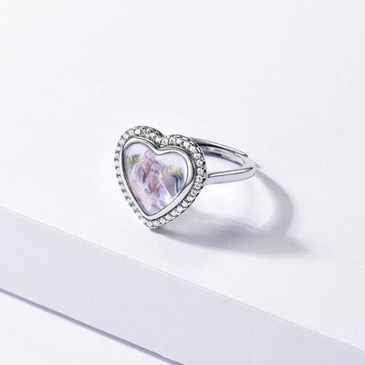 Sterling Silver Cubic Zirconia Adjustable Heart Ring With Photo Engraved
